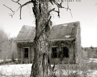 Abandoned House in Northern Maine, Black and White Print, Maine Photography