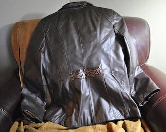 Wilson Celtic Jacket - hand-painted design on reimagined women's leather fashion jacket