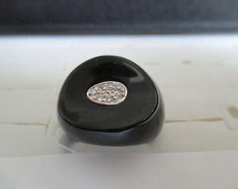 white or Black ceramic and zircon ring