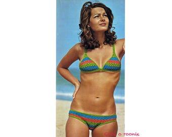 Striped Bikini Crochet Pattern 1970's Women's Digital Crochet Pattern Instant Download Pattern on ETSY