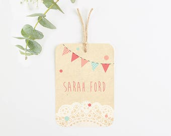Bunting & lace luggage tag place card