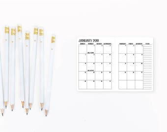 2018 Monthly Micro or Passport Traveler's Notebook Insert – micro size - passport size - Traveller's refill - Mo2P - Month on 2 Pages