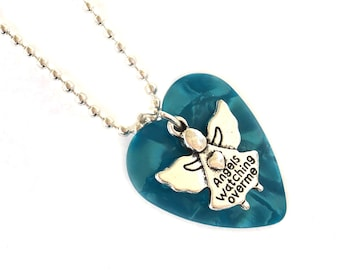 Heart shaped blue guitar pick with angel charm, angel necklace, Angels watching over me, Buy One = Give Clean Water