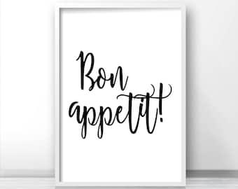 Bon Appetit Printable Wall Art, Kitchen Print, Instant Download Art, Black White Home Decor Print, Typography Kitchen Art, Dining Room Print