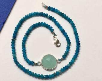 Double bracelet silver and turquoise gemstone apatite and aquamarine bracelet was gift wife gift daughter