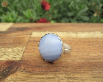 Blue Lace Agate Ring Size 11 / Sterling Silver Ring / Blue Agate Ring / Large Stone Ring / Gemstone Ring / Blue Lace Agate Statement Ring