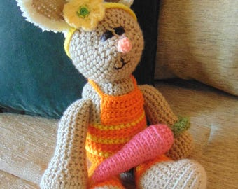 "Crocheted bunny rabbit stuffed animal doll toy ""Bonnie"""