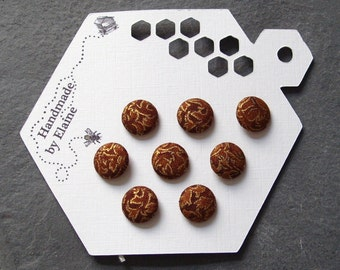 Fabric Covered Buttons - 8 x 12mm buttons, handmade button, chocolate buttons, gold leaf buttons, brown buttons, metallic buttons, 1668