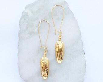 Gold Feather Kidney Drop Dangle Earrings