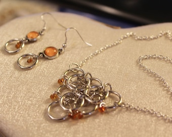 Parure necklace and earrings-rings and orange stones