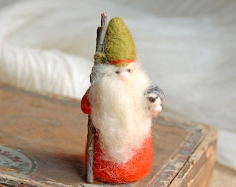 Gnome With Hedgehog, Waldorf Gnome, Needle Felted Gnome, Red Orange