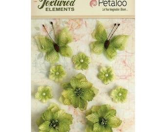Petaloo Burlap Blossoms Flowers and Butterflies Pistachio #1201-214