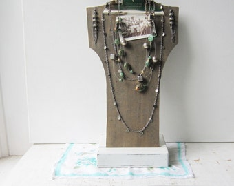 SALE Tall Gray Clipboard Necklace Bust Display with Sturdy Wood Base - Jewelry Necklace Display - Qty Ready to Ship