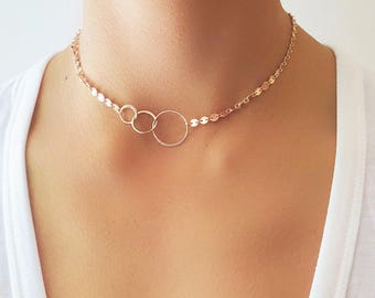 Triple Circle Coin Necklace - Choker Necklace - Choker Jewelry