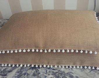 Pompom pillow cover Burlap Standard Pillow cover King Size Pillow Cover Burlap Pillow Cover Burlap Bedding Pompom Burlap Pillow Case
