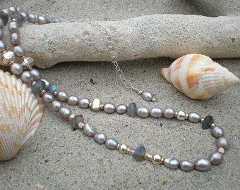 Polaris beaded necklace, one of a kind, labradorite, freshwater pearls, charity donation, unique jewelry by Grey Girl Designs on Etsy