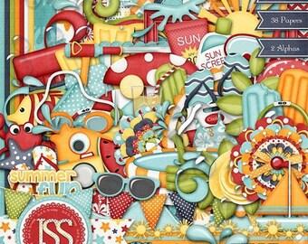 On Sale 50% Digital Scrapbooking Gettin Wet Kit - Digital Scrapbook Kit