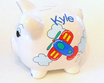 Personalized Piggy Bank Airplanes