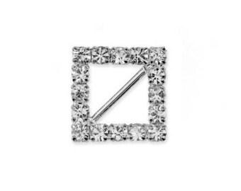 Earring square rhinestone 12 mm with diagonal pin