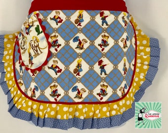 Western Cowgirl Womens Retro Half Apron for Women Ruffled Hostess Apron The Apron Queenie Free Shipping