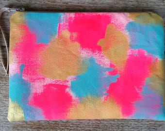 Bright Abstract- fluro pink, aqua & metallic gold on off white - flat zip pouch - hand painted and handmade
