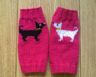 Wrist warmers - little standing dog - fingerless gloves
