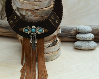 Leather fringe necklace made entirely by hand by RuskCuir