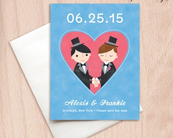 Custom Grooms Gay Wedding Save the Date Cards - Pink Heart Postcards