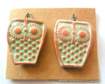 Little Owl Pair, Distressed  Glazed Soft Green Terra Cotta Findings