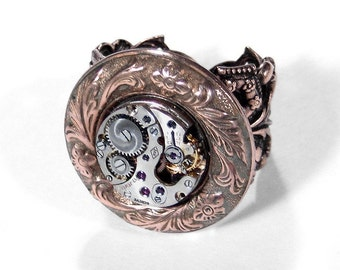 Steampunk Jewelry Ring Vintage Round PETITE Ruby Jeweled Watch Movement Adjustable Band Mens Womens STUNNING Gift - Jewelry by edmdesigns
