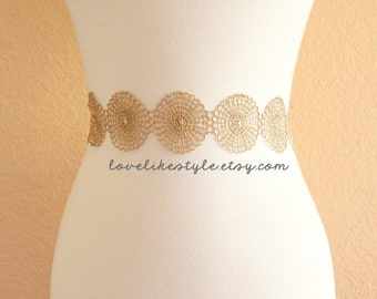 Metallic Doily Netting Gold Lace with Champagne Satin Ribbon Sash, Bridal Gold Sash, Bridesmaid Sash, Gold Lace Headband,GSH