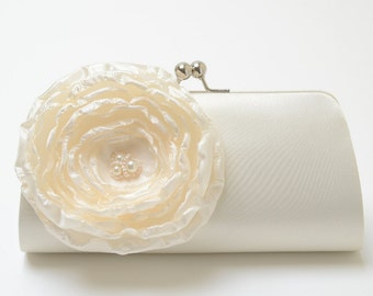 Shabby Chic Ivory Bridal Clutch or  Bridesmaid Clutch - Bouquet Clutch - Shabby Chic Clutch - Ivory Pearl Flower Blossom - Medium Size