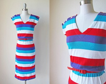 1970s vintage stripe multicolor midi bright red blue white purple button shoulder cap sleeve belted dress