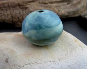 Single Large Blue Green Equator Focal Planet Bead