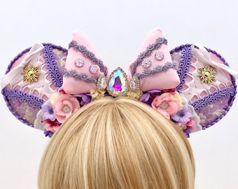 Rapunzel Inspired Mouse Ears Headband with Swarovski Crystals and Bow