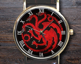 Personalised Game of Thrones Watch, Mother of Dragons House Sigil Custom Game of Thrones Gifts Custom Gift for Her Stark Lannister Targaryen