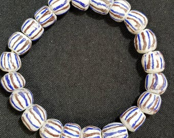 19 POWDERED GLASS BEADS:  Beautiful African Trade Beads.  13mm - 14mm Multicolored Beading and Jewelry Supply