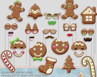 Christmas Cookie Gingerbread Party Photo Booth Props for Gingerbread Christmas Party