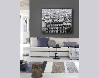 Paris Canvas, Gray Wall Art, Paris, Rooftops, Purple, Beige, Neutral, Paris Roofs Canvas, Large Canvas Art