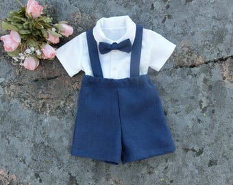 Ring bearer outfit Navy ring bearer Suspender outfit Boys linen suit Toddler boys wedding outfit Navy Ring bearer shorts suspenders bowtie