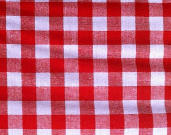 Gingham cotton fabric red Plaid by 10 cm