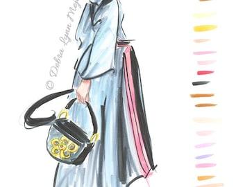 Chinoiserie Fashion Sketch Wall art, Fashion art, Chic wall art, Fashion print