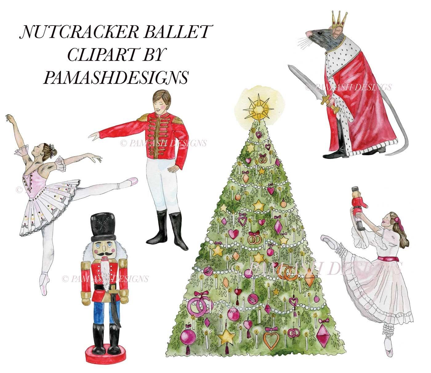 nutcracker ballet watercolor clipart for art projects rh etsy com nutcracker ballet clipart free Nutcracker Ballet Stage