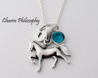 Horse Necklace - 925 Sterling Silver Jewelry - Horse Pendant - Personalized Initial and Swarovski Birthstone