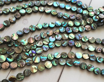 Abalone Shell Beads, 8mm Beads, 50pcs, Coin Beads, Shell Beads, Abalone Beads, Abalone Shell, Flat Beads Natural Beads, Abalone, Bead Supply