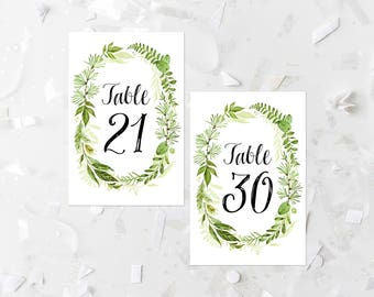 Greenery Wedding Table Numbers Printable Numbers 21-30 Green Foliage Table Numbers Leafy Green Wedding Decoration Wedding Place Cards 263