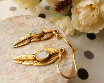 Moonstone feathers earrings, Brass Feather Earrings, Statement Earrings, Drop Earrings, Nature Inspired, Brass Jewelry, Boho style.