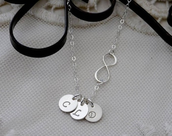 Infinity Necklace with Initials, Sterling Silver Infinity Necklace, 1 2 3 4 Initial Discs, Personalized Infinity, Gifts for Mothers