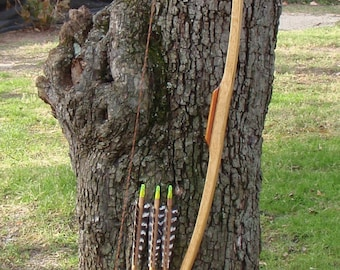 """Wood archery bow, Glass-backed Tempered Hickory bow, 50lb at 28"""", comes with matching arrows"""