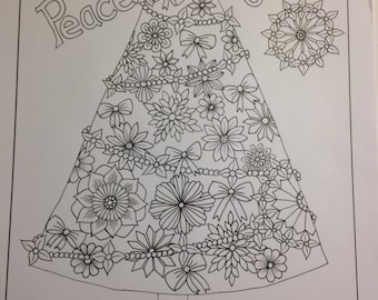 Love, Peace n' Joy Christmas Tree Coloring Page